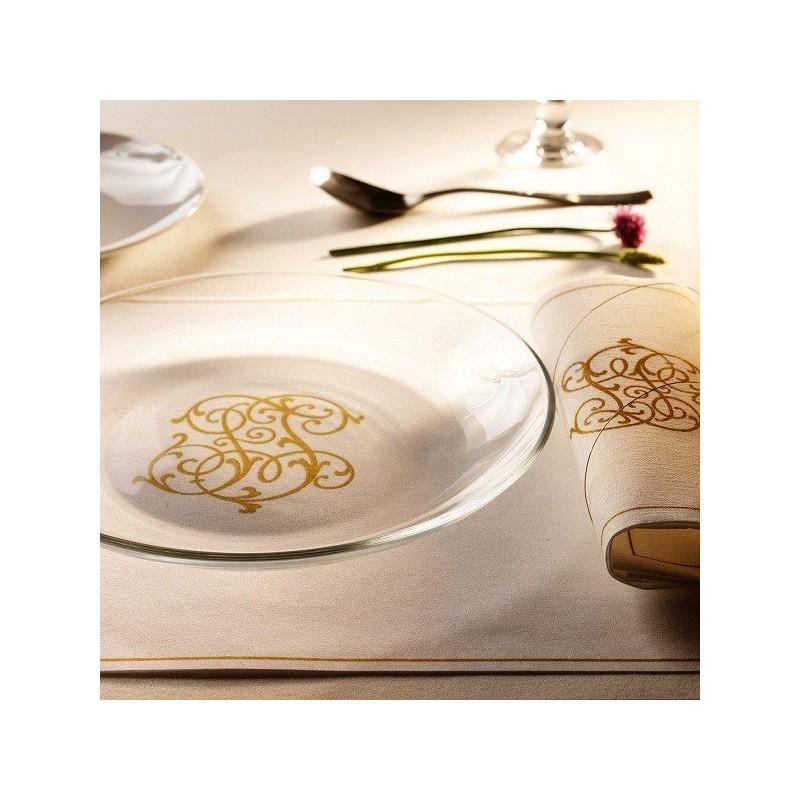 Serviette jetable monogramme or 40 cm par 20 nappes for Ensemble nappe et serviette de table