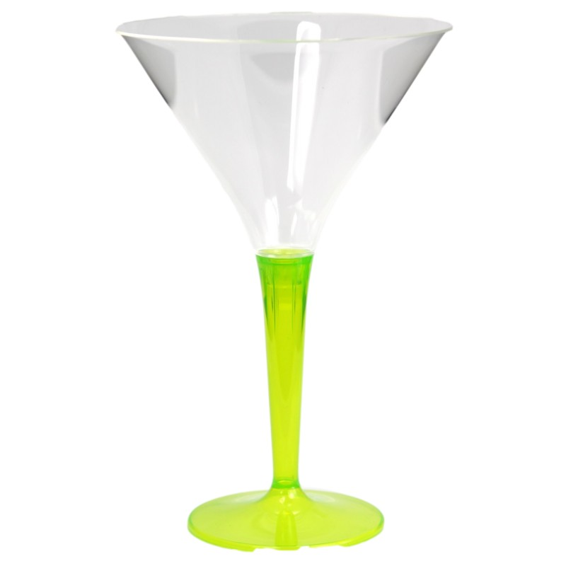 verre cocktail plastique jetable 7 cl pied vert anis par 6. Black Bedroom Furniture Sets. Home Design Ideas