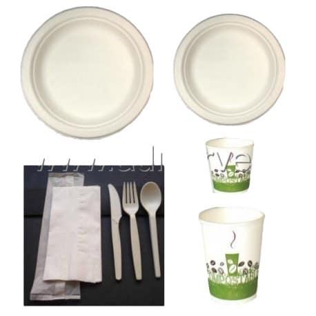 Pack bio complet rond fibre de canne sucre 50 personnes vaisselle canne - Fibre de canne a sucre ...