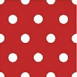 Serviette de table papier jetable intissé motif Rouge pois blancs 40 x 40 cm par 20