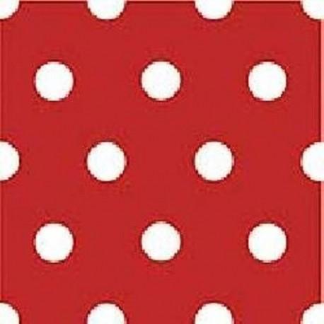 Serviette de table papier jetable intissé Rouge pois blancs 40 cm par 20