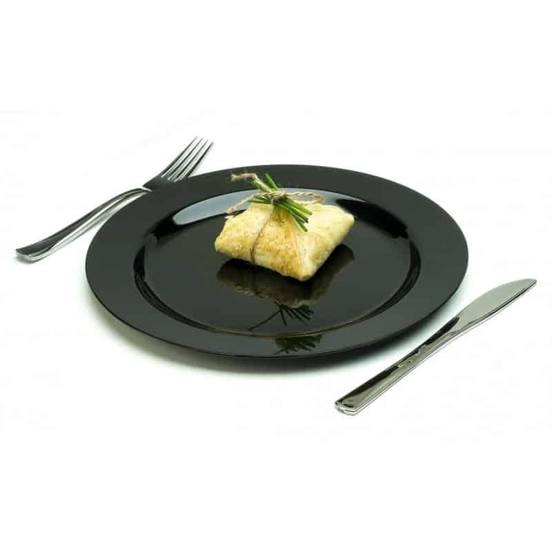 assiette ronde 26 cm noire plastique r utilisable par 20 assiettes rones et carr es adiserve. Black Bedroom Furniture Sets. Home Design Ideas