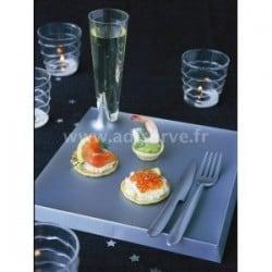 Assiette plastique rigide Starck carrée argent