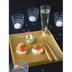 Assiette plastique rigide Starck carrée Or