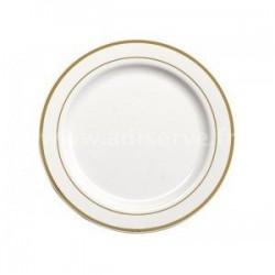 Assiette ronde 26 cm blanche liseret OR par 20