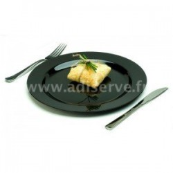 Assiette ronde 23 cm noire plastique réutilisable par 20