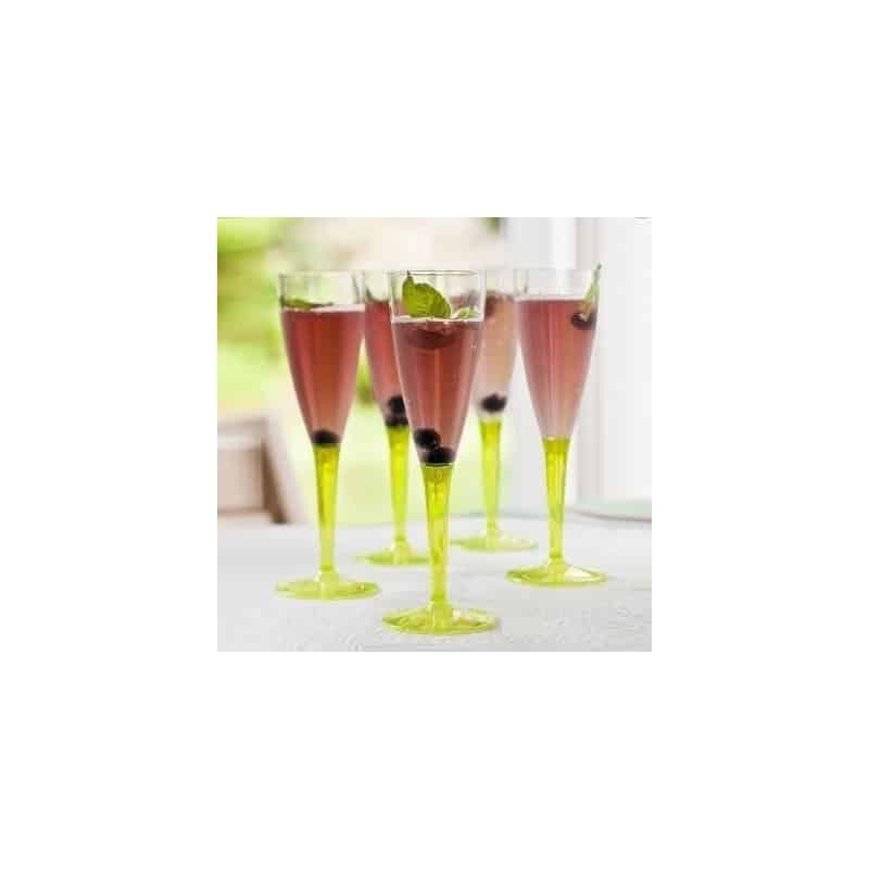 fl te plastique r utilisable 10 cl pied vert anis par 6 fl tes champagne en plastique adiserve. Black Bedroom Furniture Sets. Home Design Ideas