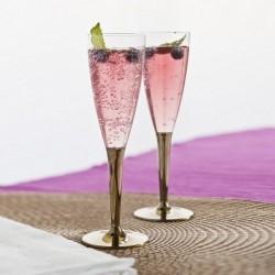 Flûte à champagne plastique jetable pied Or par 6
