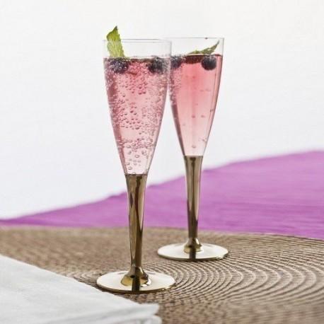 fl te champagne plastique jetable pied or par 6 fl tes adiserve. Black Bedroom Furniture Sets. Home Design Ideas