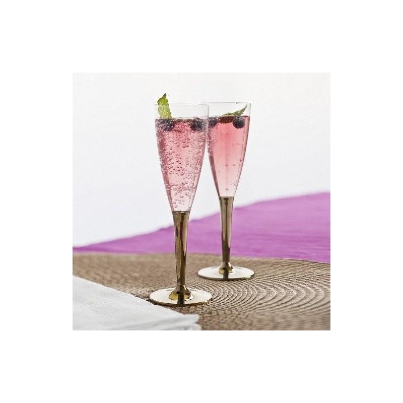 fl te champagne plastique jetable pied or par 6 fl tes champagne en plastique adiserve. Black Bedroom Furniture Sets. Home Design Ideas
