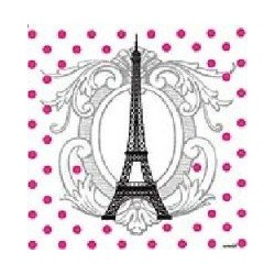 Serviette cocktail papier jetable Tour Eiffel, en intissé 25x25 cm par 20