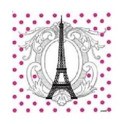 Serviette cocktail jetable intissé Tour Eiffel 25x25 cm par 20