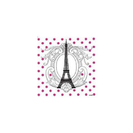 Serviette jetable Tour Eiffel 25 cm par 20
