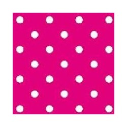 Serviette cocktail jetable pois fuchsia 25 cm par 20