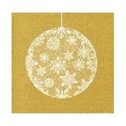 Serviette papier jetable Françoise Paviot décor boule de noël Or, en intissé 40 cm par 20