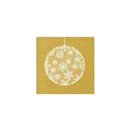 Serviette papier jetable décor boule de noël Or, en intissé 40 cm par 20