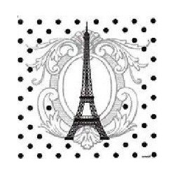 Serviette de table intissé papier jetable motif Tour Eiffel 40x40 cm