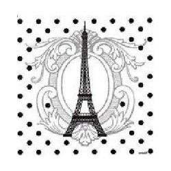 Serviette jetable Tour Eiffel intissé 40 cm par 20