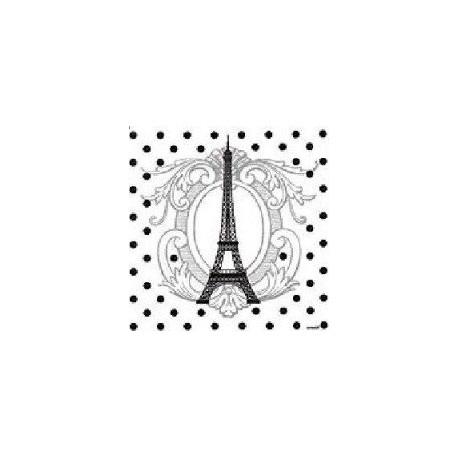 Serviette de table intissé papier jetable motif Tour Eiffel 40x40 cm