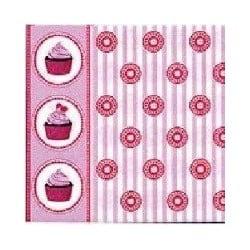 Serviette papier jetable Françoise Paviot Cupcake, en intissé 40 cm par 20