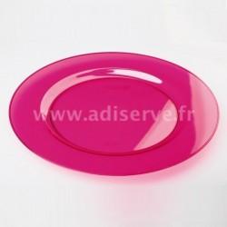 Assiette ronde 23 cm plastique réutilisable couleur framboise par 6