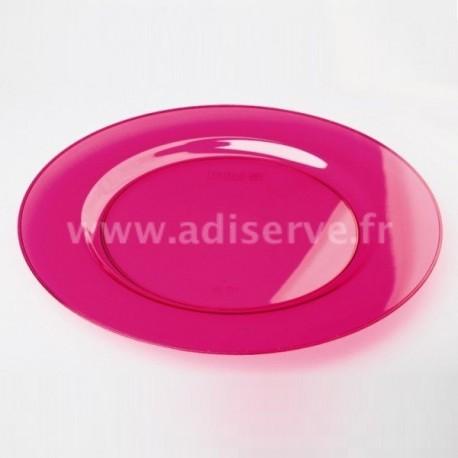 Assiette plastique jetable framboise 23 cm par 6