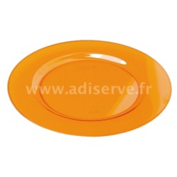 Assiette ronde plastique rigide orange 23 cm par 6