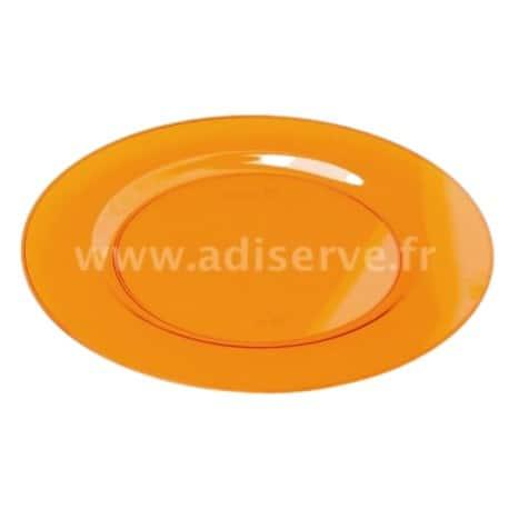 Assiette ronde 23 cm plastique réutilisable couleur orange par 6