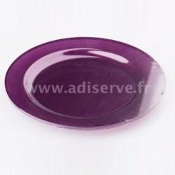 Assiette ronde 23 cm plastique réutilisable couleur aubergine par 6