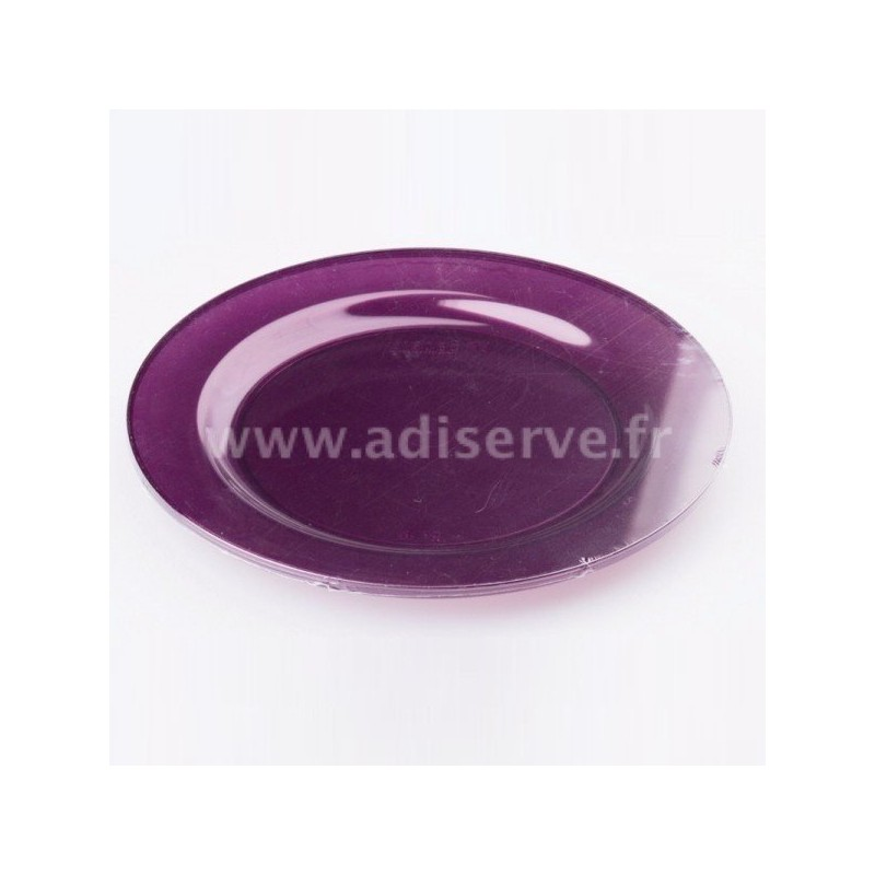 assiette ronde plastique rigide aubergine 23 cm par 6. Black Bedroom Furniture Sets. Home Design Ideas