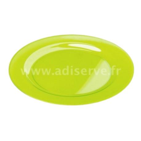 assiette ronde 23 cm plastique r utilisable couleur vert anis par 6 assiettes plastiques. Black Bedroom Furniture Sets. Home Design Ideas