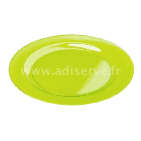 Assiette ronde plastique rigide vert anis 23 cm par 6