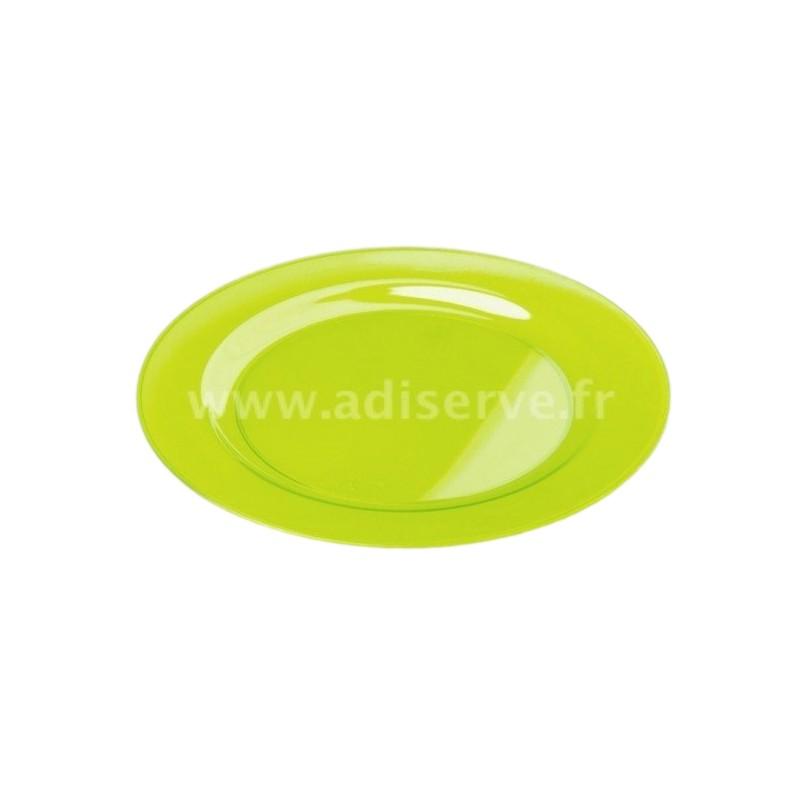 assiette ronde 23 cm plastique r utilisable couleur vert anis par 6 assiettes coupelles. Black Bedroom Furniture Sets. Home Design Ideas