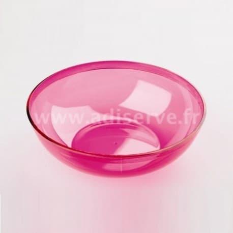 Coupelle rose framboise plastique réutilisable 400 ml par 4