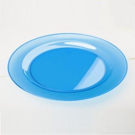 Assiette ronde 23 cm plastique réutilisable couleur bleu turquoise par 6
