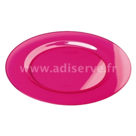 Sous-assiette ronde 30 cm plastique réutilisable couleur framboise par 4