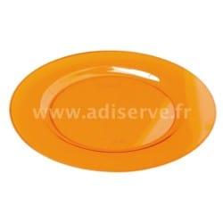 Sous-assiette ronde plastique rigide Orange 30 cm par 4