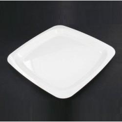 Assiette plastique jetable carrée 18 cm ivoire par 20