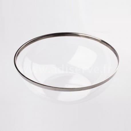 Saladier plastique transparent bord argent 3.5 L