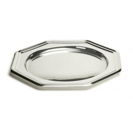 Assiette plastique jetable octogonale argent 30cm par 4