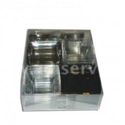 Mise en bouche cristal, argent, noir, mini-cuillères cristal 54 pièces