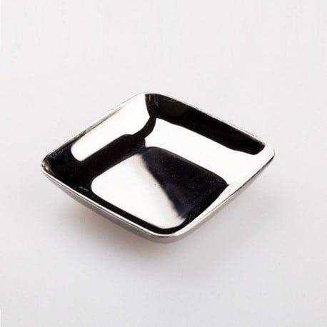 Mini-assiette plastique jetable pour mise en bouche 6 cm argent métallisé