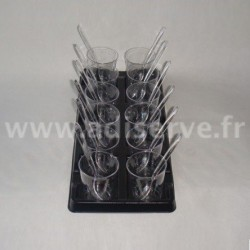 Mini plateau noir + 12 verrines transparentes