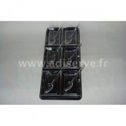 Plateau noir + 6 coupelles cristal et 6 mini-cuillères