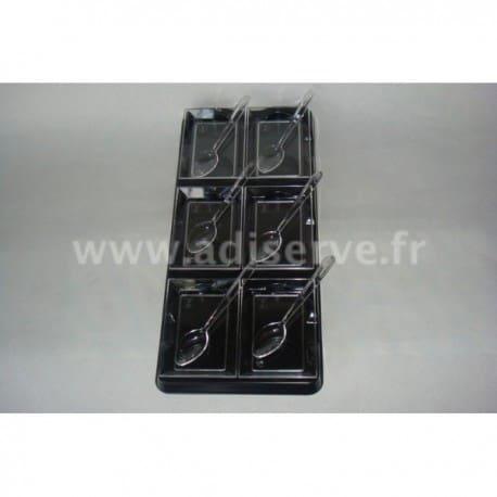 Mini plateau noir + 6 coupelles transparentes + 6 mini cuillères