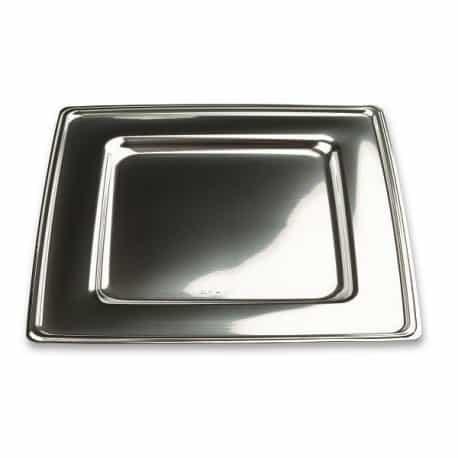 Assiette carrée 18 cm argent métallisé recyclable par 6