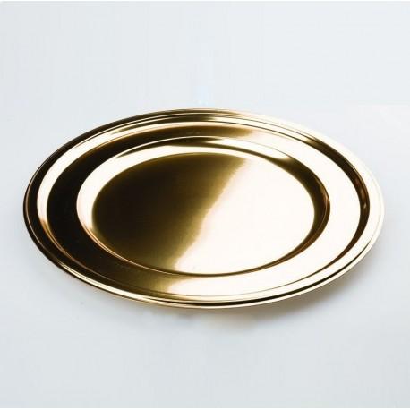Assiette plastique jetable mariage ronde 30.5cm OR par 4