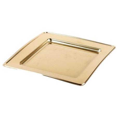 Assiette plastique jetable carrée 30 cm Or par 4