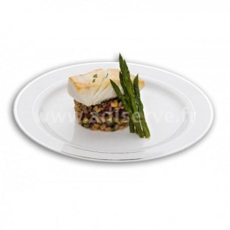 assiette jetable ronde 26 cm blanche liseret argent par 20 assiettes plastiques jetables et ou. Black Bedroom Furniture Sets. Home Design Ideas