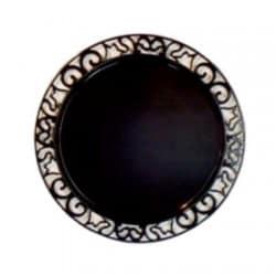 Sous-assiette ronde plastique jetable noir nacré 30 cm par 4